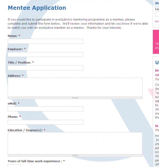 Mentee application webform
